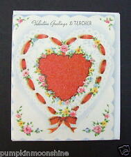 #G600- Vintage Unused Valentine's Day Greeting Card Glitter Red Heart, Gorgeous