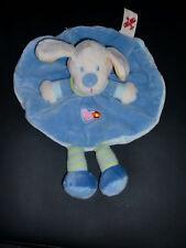 doudou plat rond chien bleu brodé coeur NICOTOY (2 dispo)