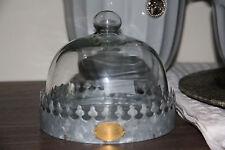 * Glasglocke Glocke Haube Metall Zink Fuss Platte Grau Krone Shabby Landhaus