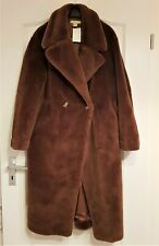 NEU! DAMEN H&M MANTEL TEDDY PELZ OVERSIZED FAUX FUR BLOGGER 2018 BRAUN 36 38 40