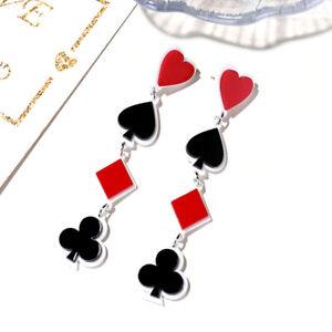 Fashion Acrylic Poker Card Heart Spade Diamond Long Stud Earrings Women Jewel AP