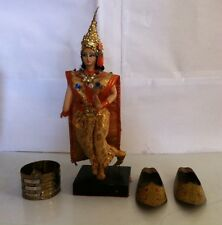 Vintage Siam Thailand Crowned Doll Figurine Stand Collectible + Metal Shoes Ring
