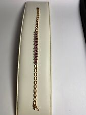 """10 KT YELLOW GOLD BRACELET WITH MARQUISE RUBIES AND ROUND DIAMONDS 7"""""""