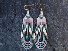 Authentic Native American Made Porcupine Quill Earrings by Yahhazie 3 3/4 ""