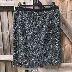 Jigsaw Black White Green Textured Cotton Pencil Skirt Size 10 VGC