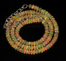 """59 Tcw 4 to 5 mm 16""""  Natural Ethiopian Welo Fire Opal AAA Beads Necklace-A3112"""