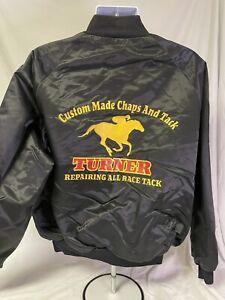 Vintage Turner's Horse Racing Tack Black Satin Bomber Jacket XL