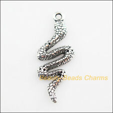 6Pcs Tibetan Silver Tone Animal Snake Cobra Charms Pendants 15x39mm
