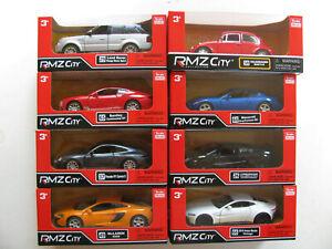 RMZ Die Cast Model Cars 1/38 1:38 Porsche VW Bentley Jaguar McLaren Aston Martin