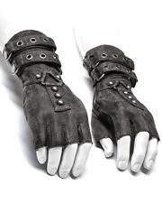 Punk Rave Mens Dieselpunk Fingerless Gloves Grey Gothic Steampunk LARP Gauntlets