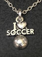 "I Love Soccer Charm Tibetan Silver 18"" Necklace"