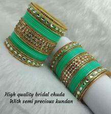 Rajwadi Dulhan Set Wedding Kundan Chura Bridal Bangle Acrylic Plastic Green
