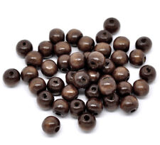 20 Brown 10mm Round Wooden Wood Beads Hole 3mm