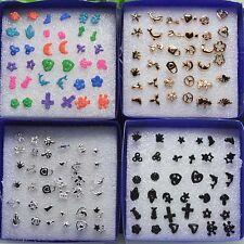 18Pairs/Set Women Earrings Ear Studs Pin Jewellery Charm Heart Cross Dolphin
