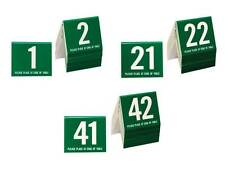 Plastic Table Numbers 1-60, Tent Style, Green w/white number, Free shipping