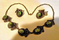 Ethnic Vintage Dichroic Glass Necklace, Clip On Earring Set From Israel Sterling