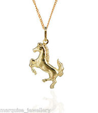 """9ct Gold Leaping Horse Pendant & 18"""" 9ct Gold Chain."""