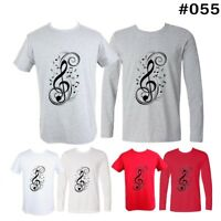 Art Music notation Treble clef Design Men's Boy's T-Shirt Long short Graphic Tee