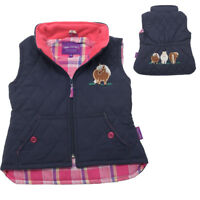 Girl's Childrens Navy Pink Embroidered Horse Pony Gilet Body Warmer Kids Zipped
