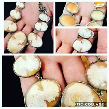 AMAZING, ANTIQUE, PERFECT STERLING SHELL CAMEO NECKLACE WITH 7 DIFFERENT CAMEOS!