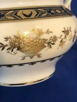 **REDUCED**     Minton Dynasty Cobalt Blue Covered Sugar Bowl