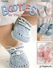 Booties By The Dozen Crochet Instruction Patterns Newborn Baby 0-3 mths NEW