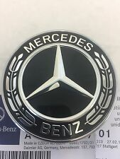 Genuine Mercedes-Benz Black Wreath Flat Bonnet Badge Emblem A0008171601 NEW