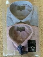 "Nagelneu in Verpackung m&s Herren 2 Packung kariert Regular Fit Langarm Hemd Hemden & Krawatte Set 17.5"""