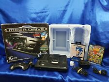 Sega MEGA DRIVE CONSOLE + Controller + Leads + 2 Games Boxed Sonic PAL Official
