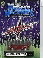 Muscle Machines- 03 Honda Civic Type-R- SS TUners- 1:64 Scale Diecast Car!!