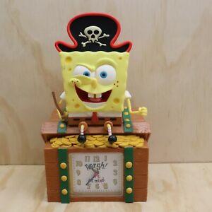 2002 Spongebob Squarepants Pirate Treasure Chest Alarm Clock Coin Bank