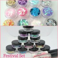 Chunky Mixed Festival Glitter Set of 12 Pots + 2 Glues Face Eye Body Cosmetic