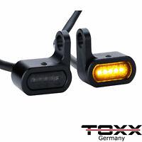 ToXx LED Armaturen Blinker schwarz getönt Harley Custom Chopper Cafe Racer 1paar