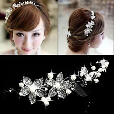Tiara Bridal Pearls Decor Wedding Band Elegant Hair Headband Rhinestone Flower