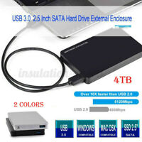 4TB USB 3.0 SATA External 2.5'' HD HDD SSD Hard Drive Enclosure Disk Shell