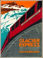 Glacier Express Switzerland Suisse Vintage Railroad Train Travel Poster Print
