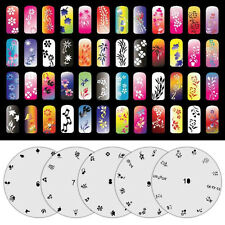NEW 5 Page Airbrush Nail Art Stencil 65 Designs Total w/ Display Sheet Set Kit