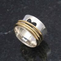 Solid 925 Sterling Silver Spinner Ring Meditation ring statement ring Size 0013.