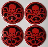 4x New Red Skull Wheel Center Cover Decor Sticker Emblem 56mm For All Cars