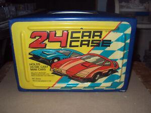 Vintage 24 Car Case * Hot Wheels * Tara Toy Company #20150 * Blue * Both Trays *