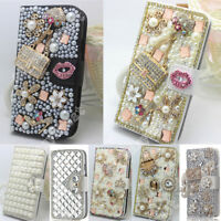 Luxury Diamond Bling Flip Stand Case Leather Wallet Cover For iPhone/Samsung/LG