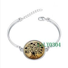 Heart Tree glass cabochon Tibet silver bangle bracelets wholesale