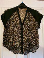 Ladies Leopard Print Chiffon Style Top Blouse Size 12