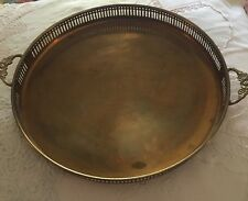"Vintage India Round Tray Brass 13"" Decor Home Nice Detail"