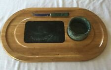 Large Italian Green Marble & Wooden Cutting Board Serving Platter Set w/ Compote
