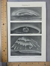 Rare Antique Orig VTG Northern Lights 3 Images from 1880s Photogravure Art Print