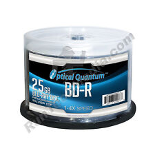 300 Optical Quantum 4x 25GB Blue Blu-ray BD-R Shiny Silver Blank Media Disc