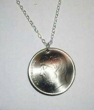 "Greek Aristotle coin necklace-nicely domed- 18"" chain"
