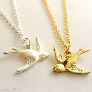 Summer Swallow Necklace, Gold or Silver plated brass, Bird Pendant, Gift Box UK