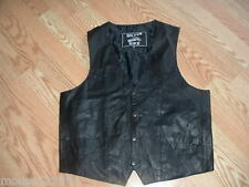 Silver Bike Black Leather Motorcycle vest size Medium